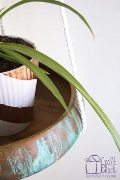 vintage wood bowl hanging plant shelf with unicorn spit