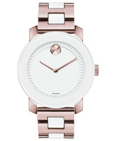 Movado Watch, Unisex Swiss Bold White TR90 and Rose Gold Ion-Plated Stainless Steel Bracelet 36mm 3600164 - Women's Watches - Jewelry & Watches - Macy's