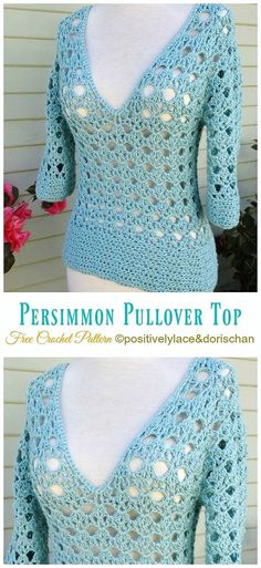DIY Crochet Persimmon Pullover sweater with free tutorial and pattern. - DIY Crochet Persimmon Pullover sweater with free tutorial and pattern. Fashionable trendy outfit for - T-shirt Au Crochet, Pull Crochet, Mode Crochet, Crochet Woman, Doilies Crochet, Blouse Au Crochet, Crochet Shirt, Crochet Patterns Free Women, Crotchet Patterns