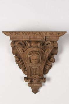Henri II style oak wall bracket featuring a portrait bust of a beautiful young lady having robust carving and a large display surface from France. Iron Decor, Wall Brackets, Victorian Homes, Wood Carving, French Antiques, Wood Art, Hand Carved, Decorative Boxes, Objects