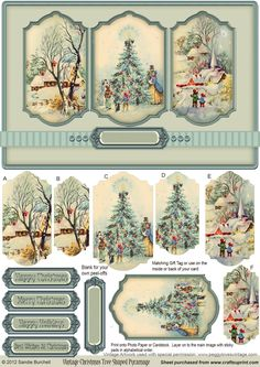 Diy Crafts - Vintage Christmas Tree Shaped Pyramage on Craftsuprint designed by Sandie Burchell - Lovely shaped panels with Vintage Christmas Tree Christmas Decoupage, Noel Christmas, Christmas Paper, Vintage Christmas Cards, Christmas Pictures, Vintage Cards, All Things Christmas, Vintage Ornaments, Decoupage Vintage