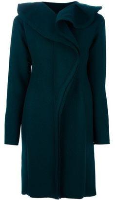 Lanvin Oversized Collar Coat in Green