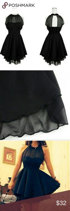 """Black chiffon dress Sleeveless chiffon dress with open back bandage peplum dress. Fits size 8-10. Waist 29"""", Length 34.8. Bust 26.5-36.9 Dresses Mini"""