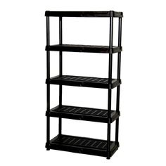 Blue Hawk H x W x D Plastic Freestanding Shelving Unit at Lowe's. This multi-purpose 5 tier shelving storage unit can be used in any room and set up is hassle free. The ventilated plastic is durable and easy to clean, Best Garage Shelving, Plastic Shelving Units, Garage Shelf, Plastic Storage, Garage Storage, Garage Laundry, Laundry Room, Garage Entryway