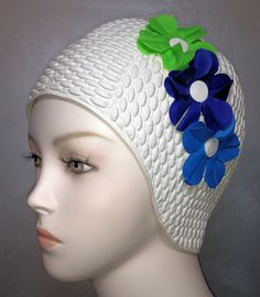 Flowered Bathing Cap! Remember These? Had to wear these in gym class, physical education