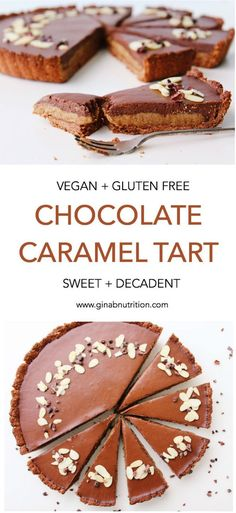 This tart is SO delicious. The ultimate vegan and gluten free indulgence! With a crumbly oaty base, a sweet cashew-date caramel middle and a smooth chocolate ganache topping. It's super simpl… Dinner Party Desserts, Köstliche Desserts, Dessert For Dinner, Healthy Dessert Recipes, Gluten Free Desserts, Gluten Free Tart Recipe, Gluten Free Vegan Cake, Delicious Recipes, Chocolate Caramel Tart