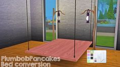 Desk and Hanging Bed Frame Conversion by PlumbobPancakes Sims Four, Sims 4 Mm, My Sims, Sims 4 Cc Furniture Living Rooms, Diy Kids Furniture, Sims 4 Beds, Sims 4 Bedroom, Sims 4 Cc Packs, Hanging Beds