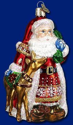 Nordic Santa w Reindeer Glass Merck Old World Christmas Ornament 40104 | eBay
