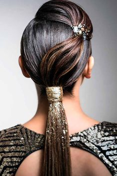 8 Ponytail Hairstyles For Every Season and Occasion, HAİR STYLE, A low ponytail isn't the primary hairstyle girls consider once some special day is sound at the door. What a shame! the matter is that not all women. Dance Hairstyles, Holiday Hairstyles, Ponytail Hairstyles, Straight Hairstyles, Wedding Hairstyles, Straight Hair Updo, Ponytail Updo, Braid Bangs, Sleek Ponytail