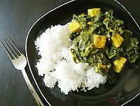 """Vegan Indian Palak """"Paneer"""" (Spinach and Tofu)- similar to a recipe I have which is a little bit better, I think, but I may try this one"""