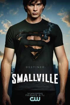 Cool picture of Smallville's Clark Kent with a burnt-hole S black t-shirt...
