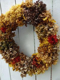 Thanksgiving Wreaths, Autumn Wreaths, Holiday Wreaths, Lavender Wreath, Hydrangea Wreath, Indoor Wreath, Gold Wreath, How To Make Wreaths, Wreaths For Front Door