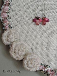 embellished burlap earring holder