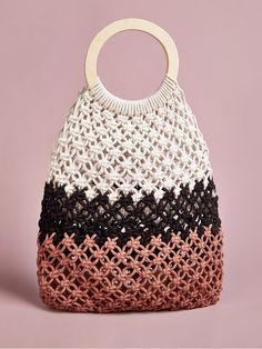 Multicolor Boho Colorblock Shoulder & Tote Bag, size features are:Bust: ,Length: ,Sleeve Length: Macrame Bag, Color Blocking, Straw Bag, Women Bags, Tote Bag, Boho, Shoulder, Rings, Handle