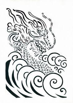 Water dragon / Дракон воды Прорезная графика / slotted graphics