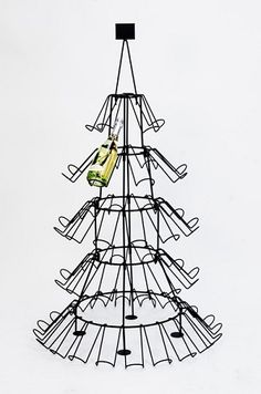 Christmas Tree Wine Bottle Display Rack - 3912