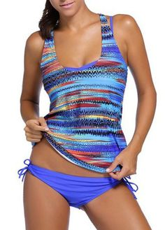 Round Neck Printed Top and Padded Bikini Set on sale only US$32.01 now, buy cheap Round Neck Printed Top and Padded Bikini Set at lulugal.com