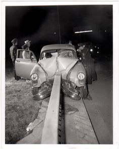 Unknown photographer - Vintage silver print photograph, circa 1950's. S)this is what happen to my dad in 1977 his car look like this one