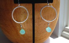 Aqua Chalcedony and Sterling Silver Handcrafted Hoop Earrings, handcrafted with love. Make a unique gift, if not for yourself.