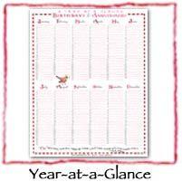 Susan Branch year-at-a-glance birthdays & anniversaries free printable