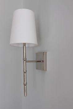 Bamboo nickel wall sconce. Lighting - Melinda Hartwright Interiors