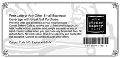 Pinned March 24th: Mocha, latte or espresso free with your breakfast item at Corner Bakery #cafe #coupon via The Coupons App
