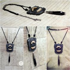 Gothic necklace with human teeth in resin by Verope' Anamnesis Syndrome