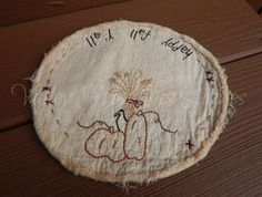 Hand Stitched Fall Candle Mat, Primitive, Pumpkin, Crow, Straw by valleyprimitives on Etsy