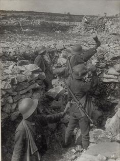"Austro-Hungarian ""Sturmtruppen"" (Assault Troops) on the Isonzo. They're wearing the domestically produced ""Berndorfer"" Helmets and are armed with Mannlicher carbines and German type stick hand grenades. Military Photos, Military History, World War One, First World, Ww1 Photos, Ww1 Soldiers, Remember The Fallen, Aussie Dogs, Austro Hungarian"