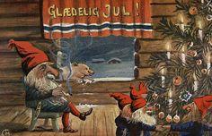 Glædelig jul postet 1917 kunstner Christian Magnus utgiver J. Christmas Elf, Vintage Christmas, Christmas Cards, Christmas Postcards, Xmas, Victorian Christmas, Norwegian Christmas, Scandinavian Christmas, Danish Christmas