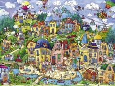 Image of product Heye 29744 - Berman: Happytown - 1500 pieces jigsaw puzzle in triangular box