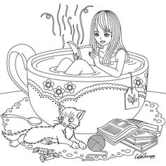 This girl in a cup of tea ☕ Color Therapy: #HappyColoring  #adultcolouringbook #colorfy #colorfyapp #coloringbook