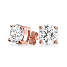 Bling Jewelry Basket Set Round CZ Stud earringsRose Gold Plated 8mm -- Read more at the image link. (This is an affiliate link) #NiceJewelry