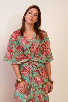 SEA SPRAY Short Cotton kaftan dress in floral by SingingSlowly