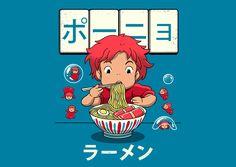 """Goldfish Ramen"" by Vincent Trinidad Inspired by Ponyo Studio Ghibli Art, Studio Ghibli Movies, Akira, Japanese Art Modern, Film D'animation, Hayao Miyazaki, Totoro, Goldfish, Kawaii Anime"