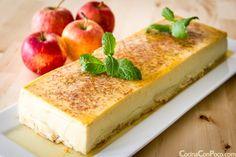 Flan de manzana - Receta paso a paso. Recipe is not in English but I WILL translate it. Looks fabulous! Apple Desserts, Sweet Desserts, Just Desserts, Sweet Recipes, Jello Recipes, Mexican Food Recipes, Churros, Cheesecake Caramel, Muffins