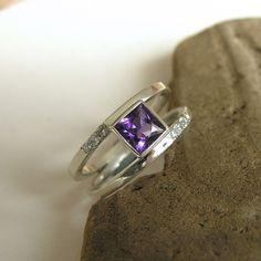 Original idea!! White gold(?), purple stone, two bands in one!