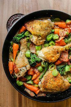 White Wine Braised Chicken and Vegetables | www.asaucykitchen.com