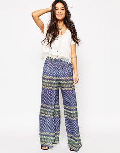 33€ asos Anmol Printed Wide Leg Beach Trousers