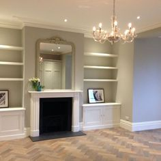 Grey wood floors living room decor interior design 41 - home - Curtain Alcove Ideas Living Room, Grey Walls Living Room, Living Room Wood Floor, Living Room Shelves, Living Room With Fireplace, New Living Room, Living Room Lighting, Living Room Designs, Built In Cupboards Living Room