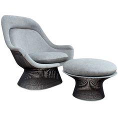 Bronze Throne chair and ottoman by Warren Platner, 1960s