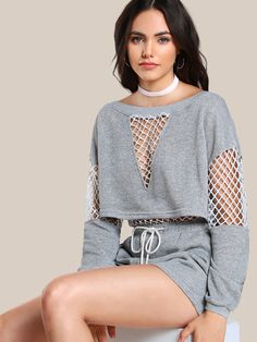 Online shopping for Fishnet Cut Out Sweatshirt HEATHER GREY from a great selection of women's fashion clothing & more at MakeMeChic. Sporty Outfits, Teen Fashion Outfits, Cute Casual Outfits, Hiking Outfits, Sport Fashion, Girl Fashion, Womens Fashion, Fashion Design, Alternative Fashion