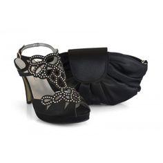 Zapato de fiesta de la marca Ángel Alarcón 35860-013D en raso negro con bolso a juego