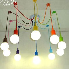 Modern Pendant Lights 13 Colors DIY Lighting Multi color Silicone E27 Bulb Holder Lamps Home Decoration 4 12 Arms Fabric Cable -in Pendant Lights from Lights & Lighting on Aliexpress.com | Alibaba Group