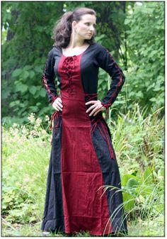Schnürkleid Marie, rot/schwarz