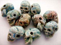 20 Tiny Raku Skull Beads horizontal holes CB572 by TheCraftyBead