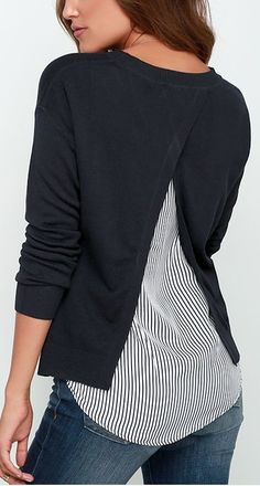 Love the peek-a-boo back with stripes.