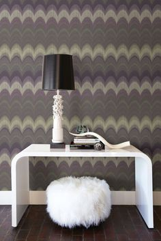 An all over wallpaper design, featuring a vibrant geometric pattern.