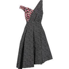 Saloni Lara asymmetric printed cloqué dress (20.120 RUB) ❤ liked on Polyvore featuring dresses, multi, asymmetrical pleated dress, multicolored dress, bone dress, loose fitted dresses and loose dresses