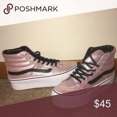 Metallic Pink platforms by Vans Vans high top metallic pink snake skin print platform sneakers. Great condition. Size 7 Vans Shoes Sneakers